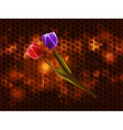 Tulips on glowing metallic honeycomb background vector image vector image