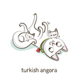 Turkish angora Cat character with kittens isolated vector image vector image