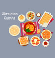 ukrainian cuisine traditional lunch dishes icon vector image vector image