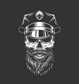 vintage monochrome police officer skull vector image