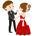wedding couple dancing on white background vector image