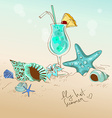 with seashells starfish and cocktail vector image vector image