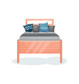 wooden bed with gray blanket and pillows bedroom vector image