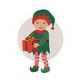 cute baby wearing christmas elf costume vector image