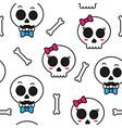 cute sugar skull boy and girl seamless pattern vector image