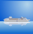 a white ocean liner on a blue vector image