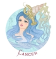 Astrological sign of Cancer as a beautiful girl vector image vector image