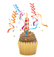 birthday chocolate cupcake vector image vector image