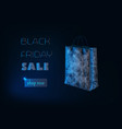 black friday sale banner with glowing low poly vector image