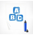 Blue marker and letters on vector image vector image
