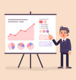 business man presenting diagram and chart vector image vector image
