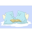 Cartoon animals angels read book vector image