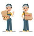 courier woman delivering pizza set professional vector image vector image