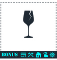 Cracked glass icon flat vector image
