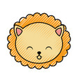 cute scribble lion face cartoon vector image vector image