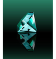 Cyan diamond with reflection vector image vector image