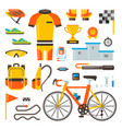 cycling on bike bicycle accessories of vector image
