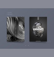 dark abstract cover template with 3d silver vector image vector image