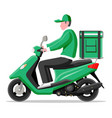 delivery man riding motorbike scooter with box vector image