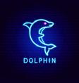 dolphin neon label vector image vector image