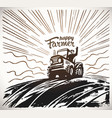 farmer on tractor waving his hands to top vector image