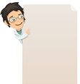 female doctor looking at blank poster vector image vector image