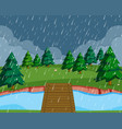 flat raining nature landscape vector image vector image