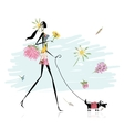 Floral girl walking with dog vector image vector image