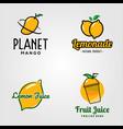fresh fruit juice logo set design vector image