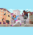 funny breakdancers in city vector image