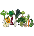 funny vegetables group cartoon vector image vector image
