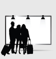 girl and man front billboard silhouette vector image vector image