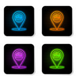glowing neon map pointer with fast food burger vector image