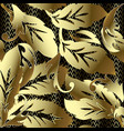 gold baroque ornate 3d seamless pattern leafy vector image vector image