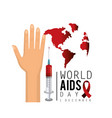 hand and syringe with blood to aids day vector image