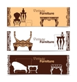 Hand Drawn Vintage Furniture Horizontal Banners vector image vector image