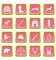 hunting icons pink vector image vector image