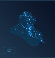 iraq map with cities luminous dots - neon lights vector image