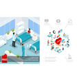 isometric medical care concept vector image vector image