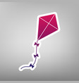 kite sign purple gradient icon on white vector image