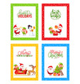 merry christmas cards with cartoon characters set vector image vector image