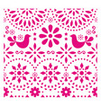 mexican folk art pattern with birds and flo vector image vector image