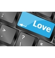 Modern keyboard key with love text Social network vector image