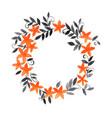 orange flower and ivy black leaf wreath vector image vector image