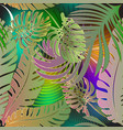 palm leaves tropical green seamless pattern vector image vector image