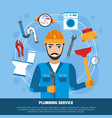 plumbing service tools background vector image