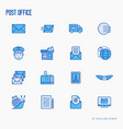 post office thin line icons vector image vector image