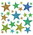 red green blue and yellow stars vector image