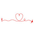 red plane and track as heart symbol valentine day vector image