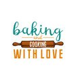 rolling pin or kitchen cooking stuff for menu vector image vector image